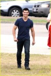 """Taylor Lautner is all smiles on the set of his latest movie, """"Abduction"""" filming on location in Pittsburgh, Pennsylvania"""