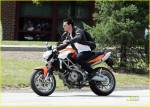 "Taylor Lautner doing his own stunts as he rides an Aprilia motorcycle on the set of his latest film ""Abduction"" in Pittsburgh, Pennsylvania"
