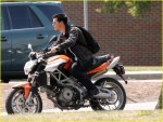 """Taylor Lautner doing his own stunts as he rides an Aprilia motorcycle on the set of his latest film """"Abduction"""" in Pittsburgh, Pennsylvania"""