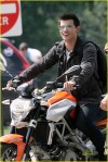 "Taylor Lautner hangs out on an Aprilia motorcycle before shooting a scene for his latest film ""Abduction"", shooting in Pittsburgh, Pennsylvania"